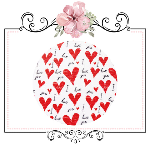 I Love You Hearts ~ Red White Valentine Smooth Faux Leather Craft Fabric