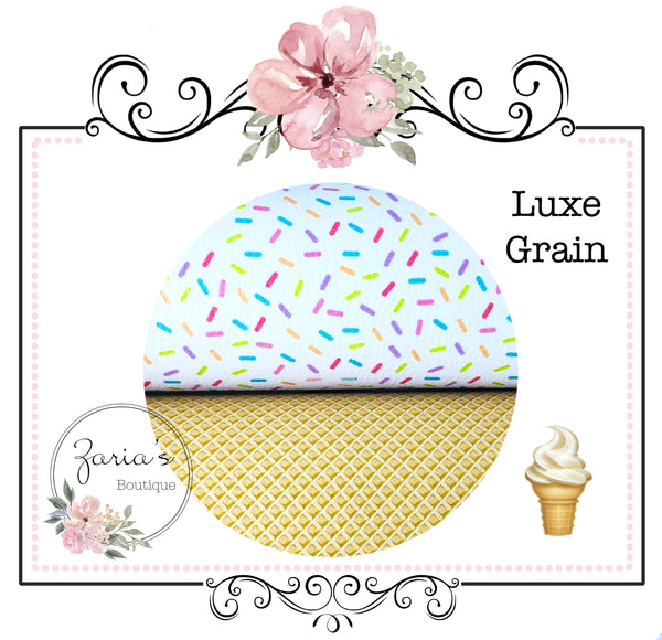 Waffle Ice Cream Cone ~ Luxe Grain Faux Leather