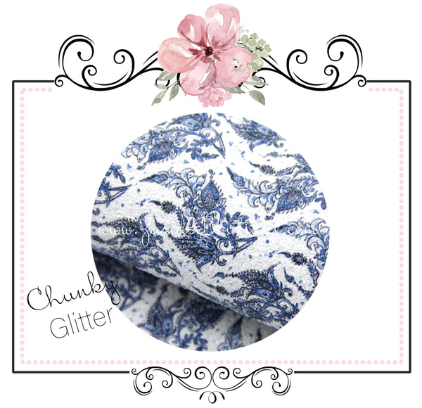 Blue White Floral ~ Chunky Glitter ~ Floral Leatherette Sheets