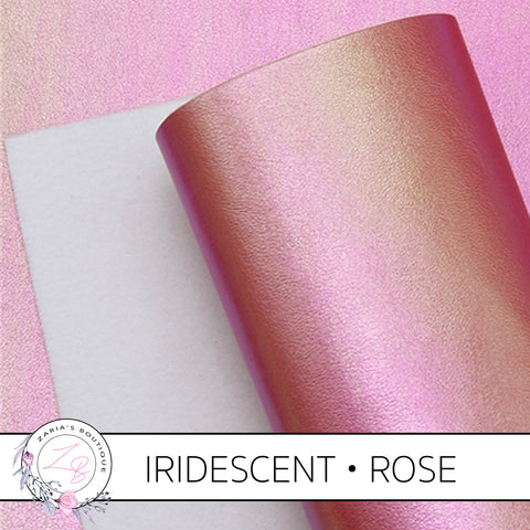 Iridescent Faux Leather • Rose Pearl AB