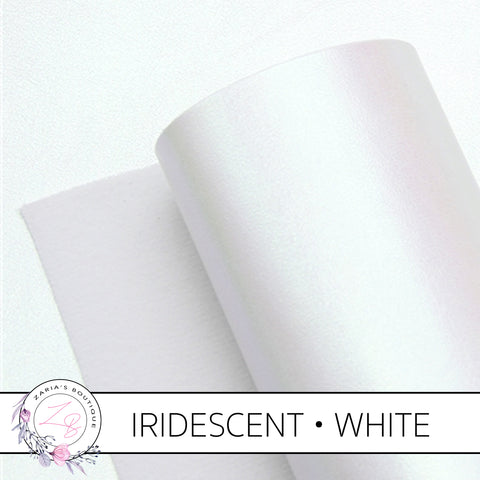 Iridescent Faux Leather • White Pearl AB