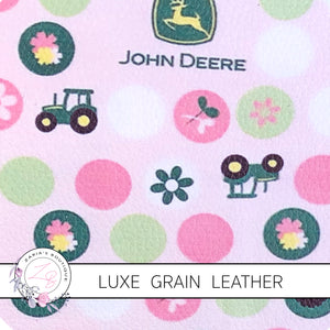 Down On The Farm ~ Pink Green Tractor JD ~ Luxe Grain Faux Leather ~ 0.80mm
