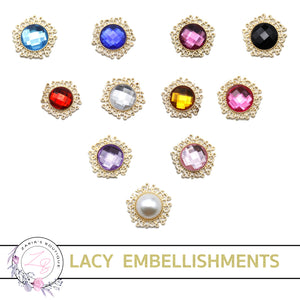 Lacy Gold Bow Flatback Embellishment • 24mm • 11 Colours