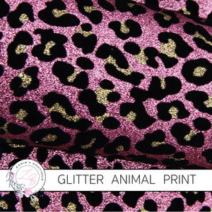 Pink, Gold & Black Animal Print Glitter Faux Fur Leather ~ 0.64mm