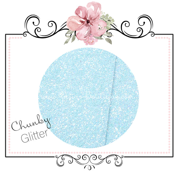 Light Sky Blue ~ Chunky Glitter Faux Leather Fabric Sheets