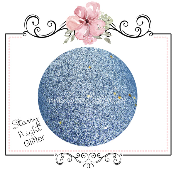 Starry Night Collection Fine Glitter ~ Light Blue ~ Silver & Gold Star Encrusted ~ 0.60mm