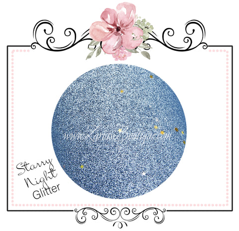 Starry Night Collection Fine Glitter ~ Light Blue ~ Silver & Gold Star Encrusted Christmas Craft Sheets