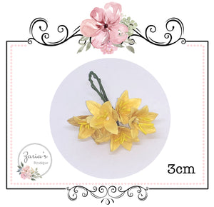 Mulberry Paper Flower ~ Lily ~ Yellow ~ 30mm x 5