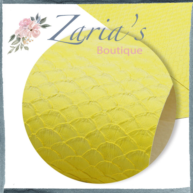 Textured Yellow Mermaid Tails Faux Leather Bow Fabric Sheet