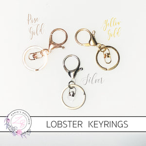 Lobster Clasp Keyring - Silver ~ Gold ~ Rose Gold ~ 6cm
