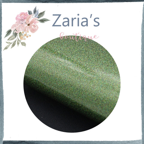 Lush Forest Green ~ Smooth Shiny Glitter Faux Leather