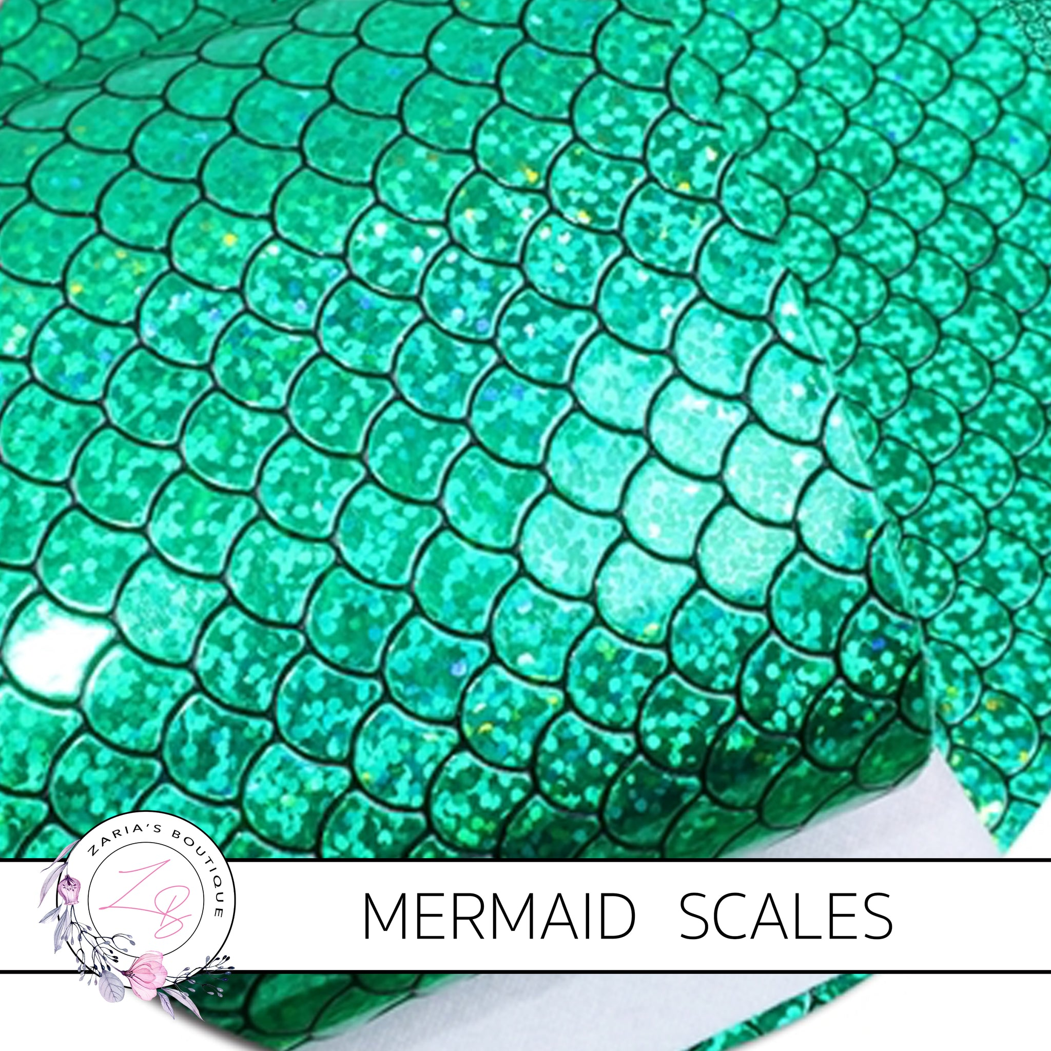 Mermaid Scales ~ Green Holo ~ Faux Leather