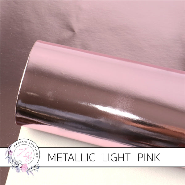 Metallic Shiny Mirror Light Pink ~ Faux Leather Sheets