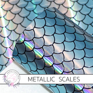 Mermaid Scales ~ Ocean Blue/Silver Holographic ~ Faux Leather