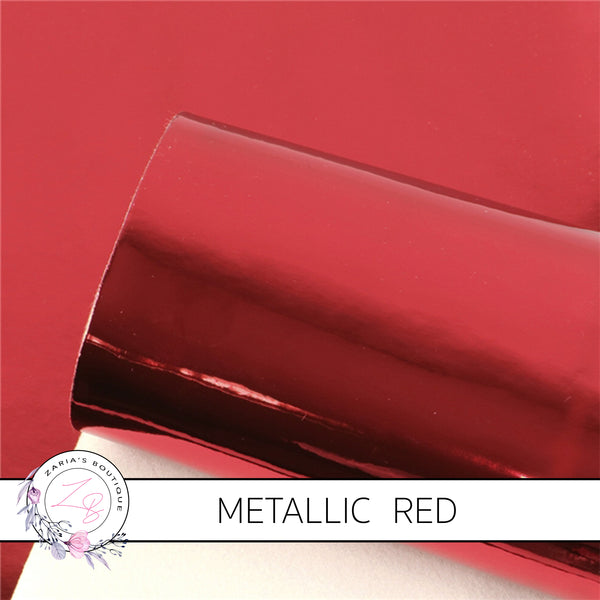 Metallic Shiny Mirror Red ~ Faux Leather Sheets