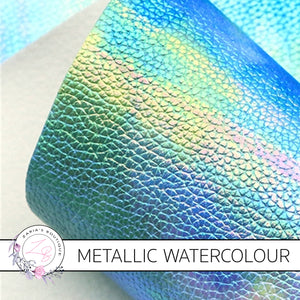 ⋅ Sea & Sky ⋅ Metallic Watercolour Vegan Faux Leather ⋅ 0.6mm