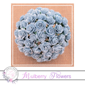 Mulberry Paper Flower ~ Baby Blue Open Rose ~ 15mm x 10 pieces