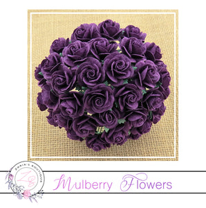 Mulberry Paper Flowers ~ Purple Roses ~ 2 sizes