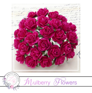 Mulberry Paper Flowers ~ Fuchsia Pink Roses ~ 2 sizes