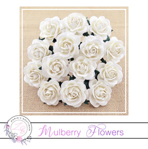 Mulberry Paper Flowers ~ White Trellis Roses ~ 40mm