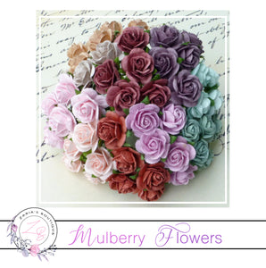 Mulberry Paper Flowers ~ Vintage Mix Roses ~ 10mm