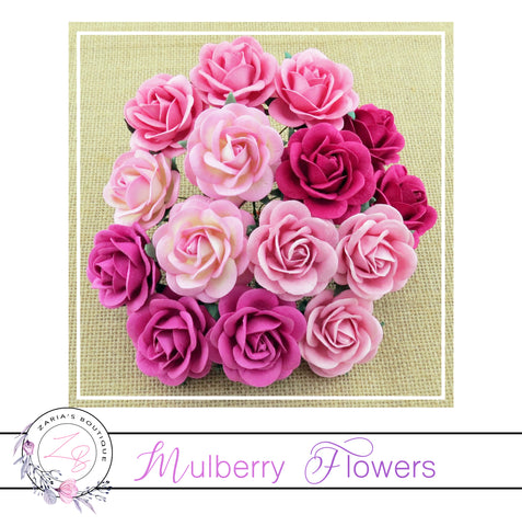 Mulberry Paper Flowers ~ Mixed Pink Trellis Roses ~ 40mm
