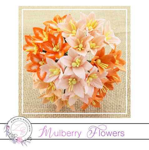 Mulberry Paper Flowers ~ Lily Lilies ~ 30mm ~ Mixed Peach/Orange