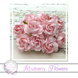Mulberry Paper Flowers ~ Wild Rose ~ 40mm ~ Pale Pink