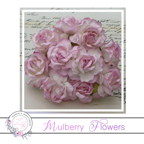 Mulberry Paper Flowers ~ Wild Rose ~ 40mm ~ 2 Tone Baby Pink
