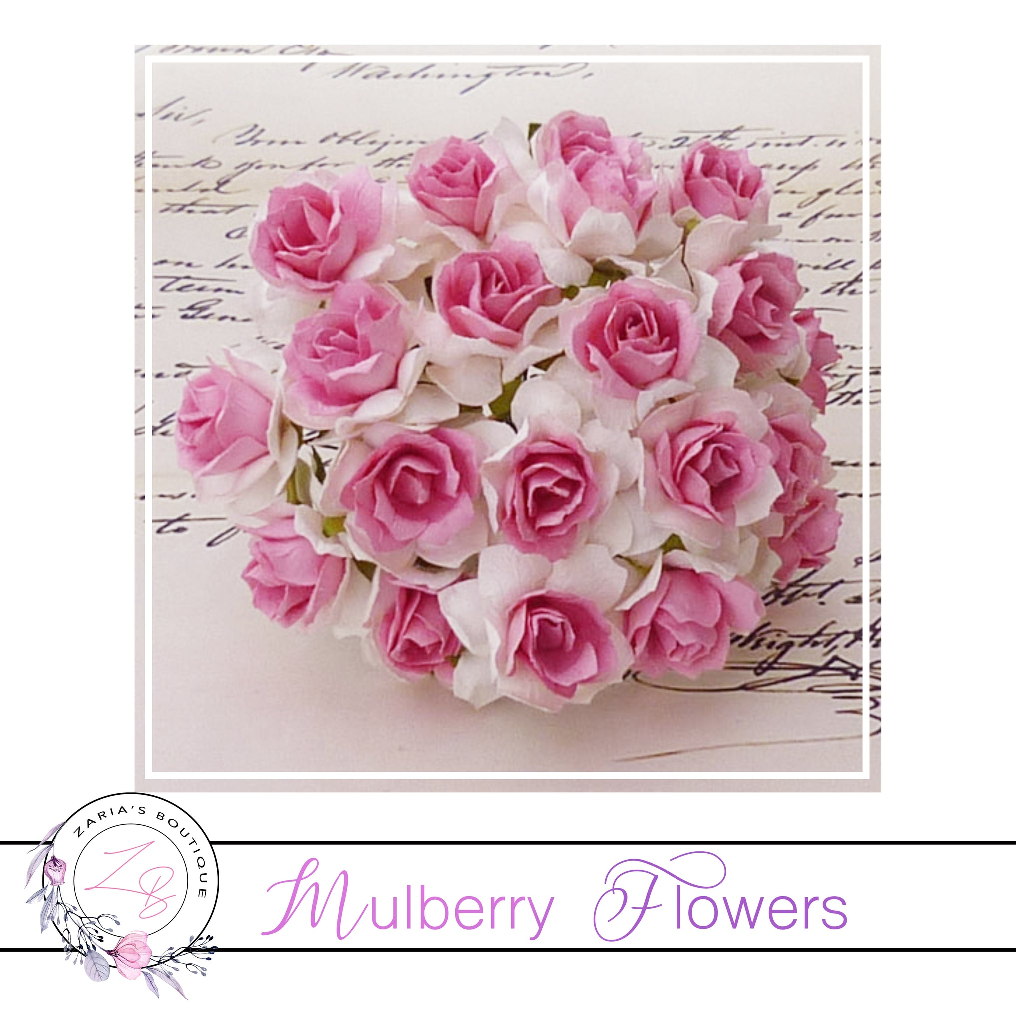 Mulberry Paper Flowers ~ Wild Rose ~ 30mm ~ White/Pink Centre