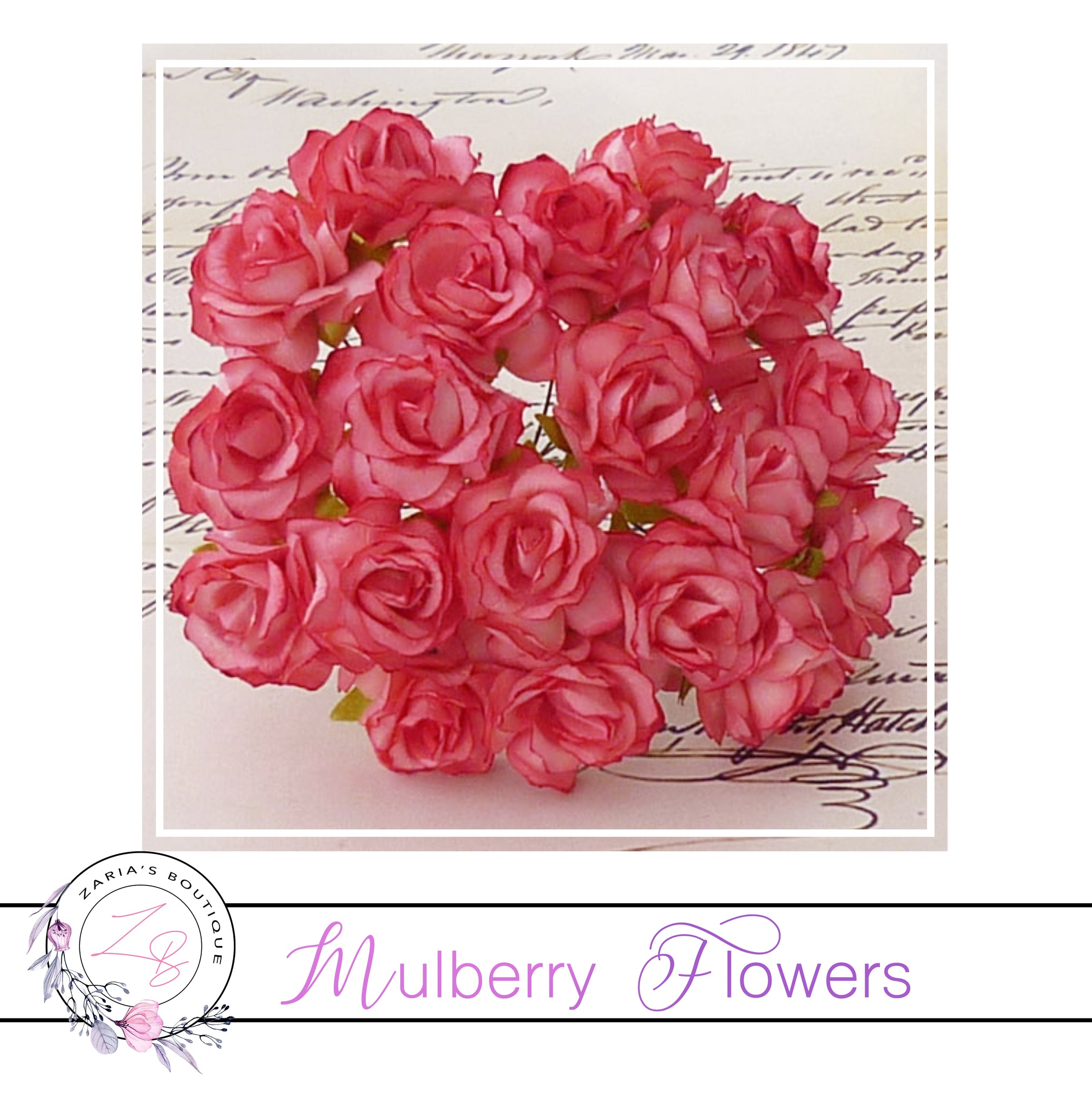 Mulberry Paper Flowers ~ Wild Rose ~ 30mm ~ Strawberry Fields