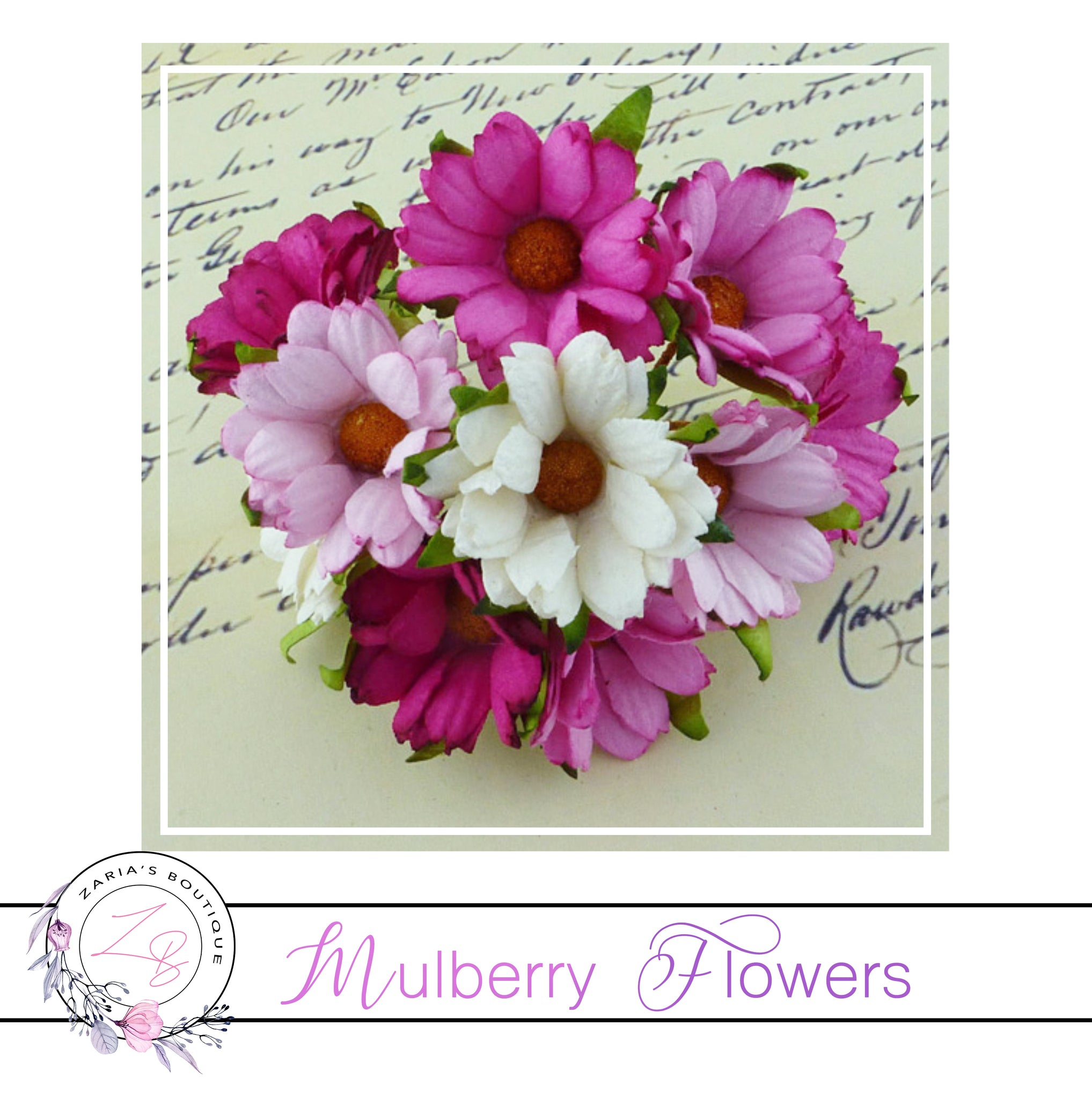 Mulberry Paper Flowers ~ Chrysanthemum ~ 45mm ~ Mixed Pink/White