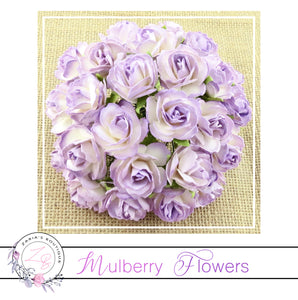 Mulberry Paper Flowers ~ Wild Rose ~ 30mm ~ Two Tone Lilac