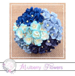 Mulberry Flowers ~ Sweetheart Blossom ~ Mixed Blues ~ 15mm