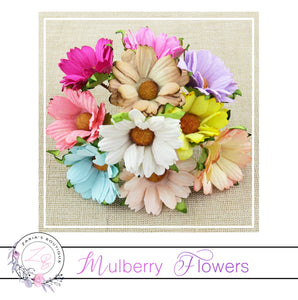 Mulberry Paper Flowers ~ Chrysanthemum ~ 45mm ~ Mixed Colours