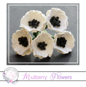Mulberry Paper Flowers ~ White Poppy ~ 20mm