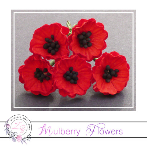 Mulberry Paper Flowers ~ Red Poppy ~ 20mm