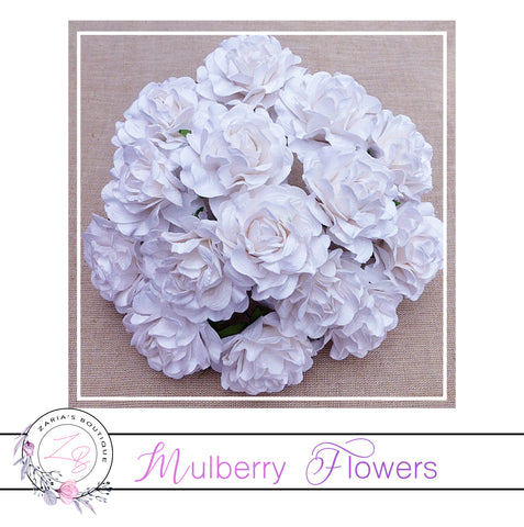 Mulberry Paper Flowers ~ White Tuscany Roses ~ 35mm