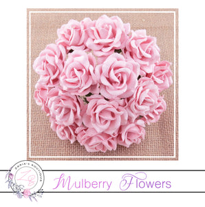 Mulberry Paper Flowers ~ Pale Pink Chelsea Roses ~ 35mm