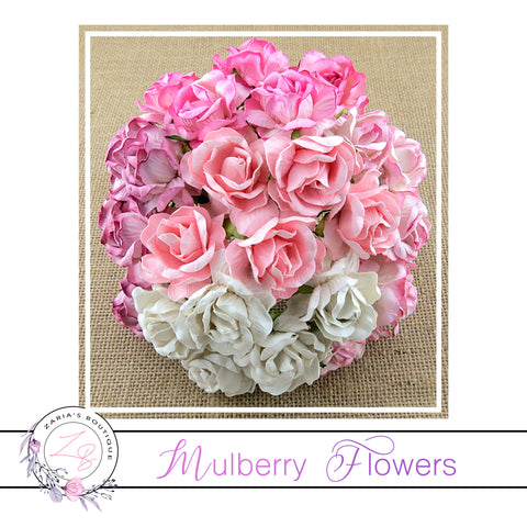 Mulberry Paper Flowers ~ Wild Rose ~ 40mm ~ Mixed Pinks