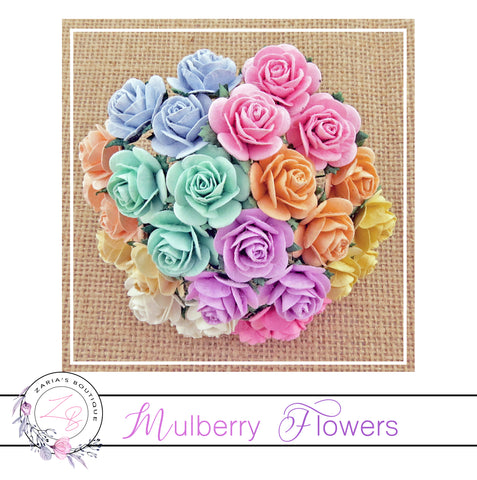 Mulberry Paper Flowers ~ Mixed Pastel Roses ~ 2 sizes