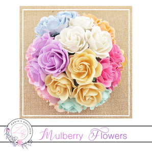 Mulberry Paper Flowers ~ Mixed Pastel Trellis Roses ~ 40mm