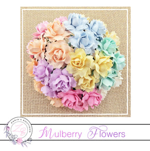 Mulberry Paper Flowers ~ Mixed Pastel Cottage Roses ~ 25mm
