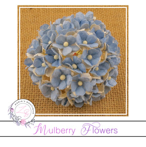Mulberry Flowers ~ Sweetheart Blossom ~ Two-Tone Light Blue ~ 15mm
