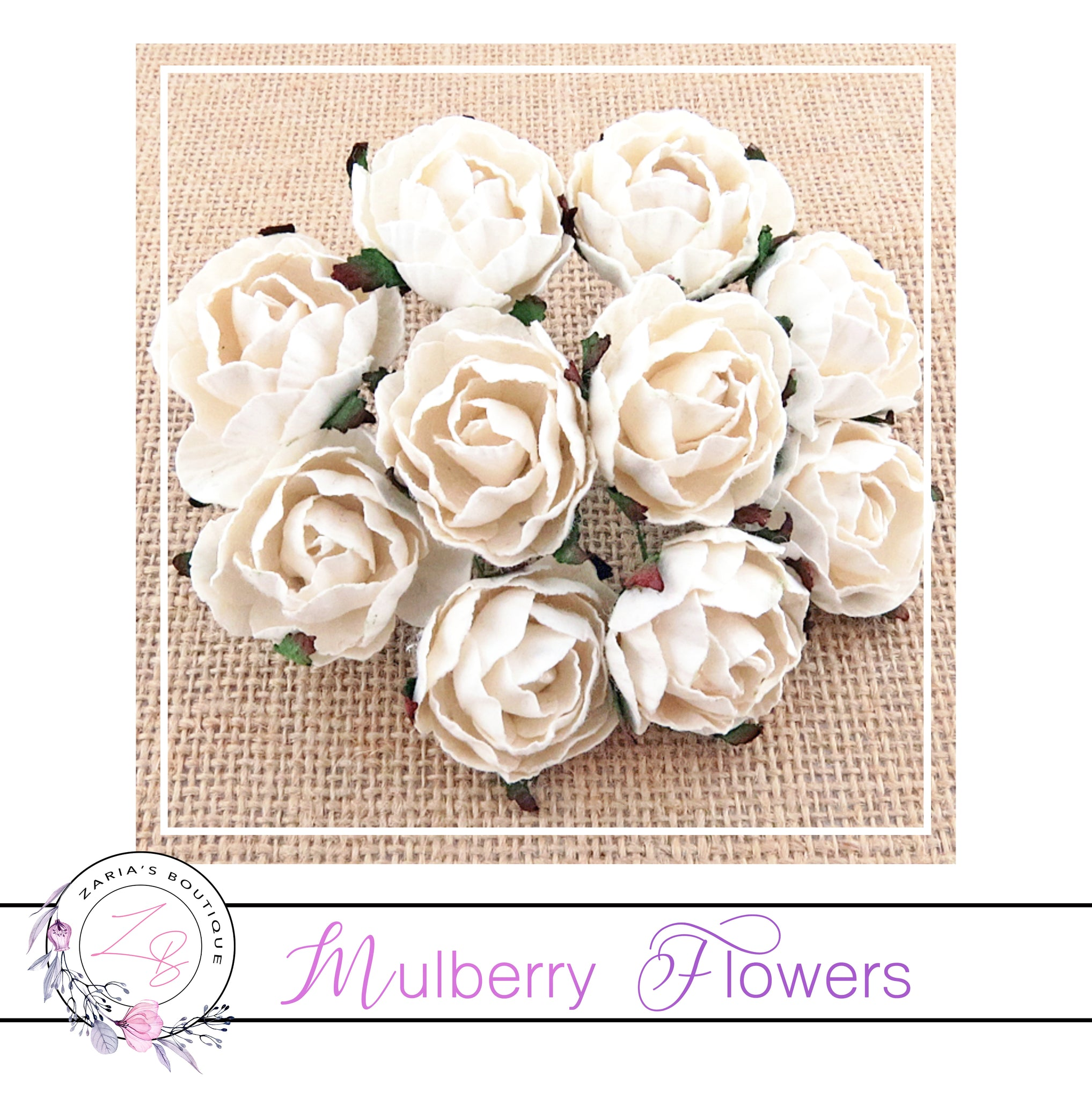 Mulberry Paper Flowers ~ Peony ~ 30mm ~ White