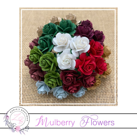 Mulberry Paper Flowers ~ Christmas Roses ~ 2 sizes