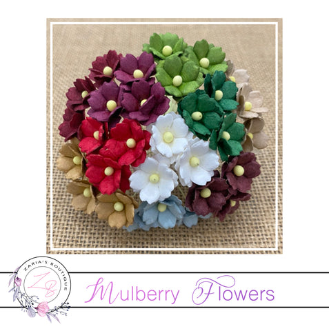 Mulberry Paper Flowers ~ Christmas Sweetheart Blossoms ~ 10 pieces