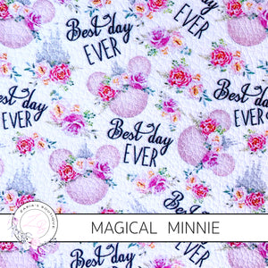 Magical Minnie Floral Faux Leather ~ Faux Leather ~ 1mm