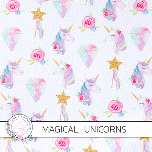 Magical Unicorns & Wands ~ Pastel Luxe Grain Ethical Vegan Faux Leather