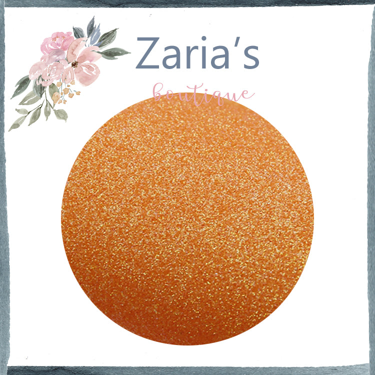 Mandarin Orange ~ Bright Fine Glitter Faux Leather Fabric Sheets ~ 0.59mm